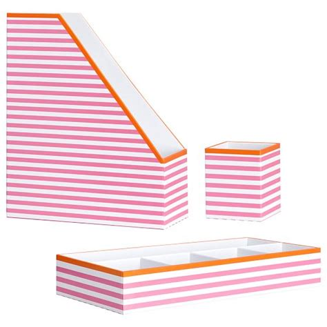 pink desk accessories set printed paper desk accessories set pink stripe with