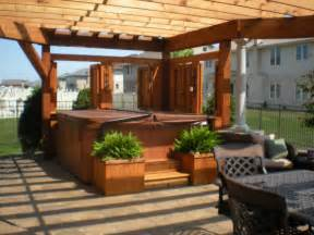 Hot tub pergolas and backyard ideas pictures for fisher builders