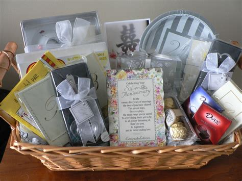 Wedding Anniversary Gift Basket Ideas by 25th Wedding Anniversary Congrats Gift Baskets Diy