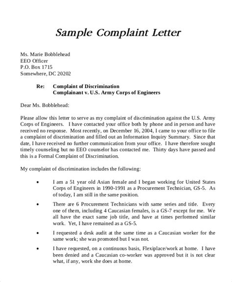 Complaint Letter To About Coworker Sle Sle Formal Complaint Letter 7 Exles In Word Pdf