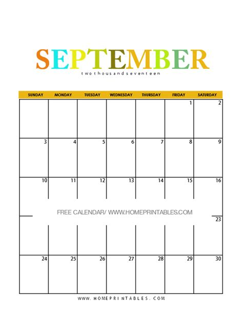 Calendar 2017 September Printable Free Calendar September 2017 8 Free Pretty Printables Home