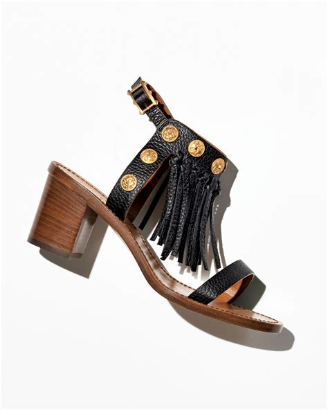 black fringe sandals valentino leather fringe sandal in black lyst