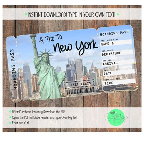 boarding nyc printable ticket to new york boarding pass customizable template digital file you