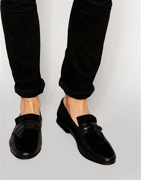 asos loafers asos asos tassel loafers in black leather with woven