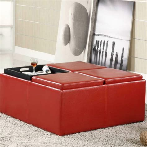 red leather ottoman coffee table red leather ottoman coffee table