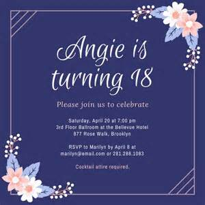 Purple and pink flowers 18th birthday invitation templates by canva