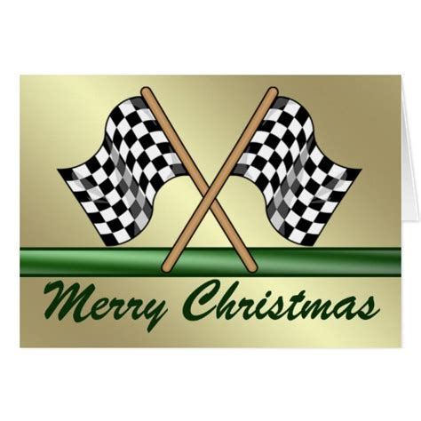 racing chequered flag merry christmas card zazzle