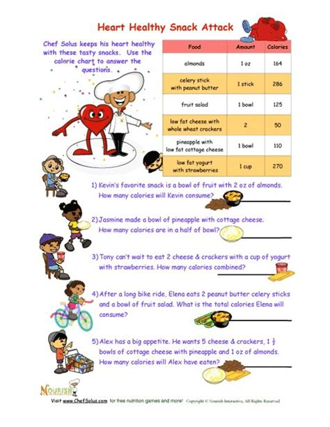 Healthy Snacks Worksheet by Healthy Snack Attack Math Worksheet For