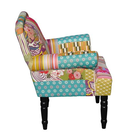 Patchwork Furniture Uk - foxhunter patchwork chair fabric vintage armchair seat