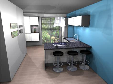 Bien Cuisine Bleue Et Blanche #4: cuisine-design-avec-bar.JPG