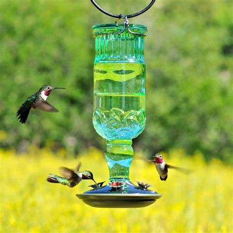 perky pet 24 oz green antique bottle hummingbird feeder