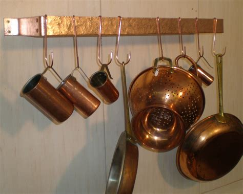 Wall Pot Stand 24 W X 5 D X 1 1 2 H Wall Mounted Hammered Solid Copper Pot