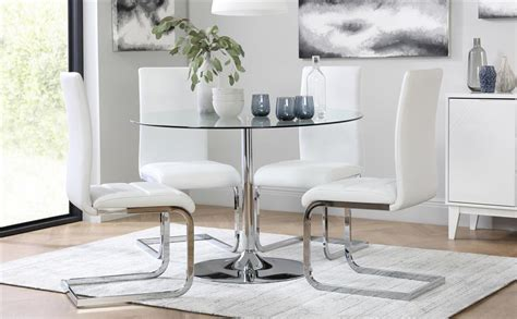 Glass Dining Tables Perth Orbit Glass Chrome Dining Table With 4 Perth White Chairs Only 163 349 99 Furniture Choice