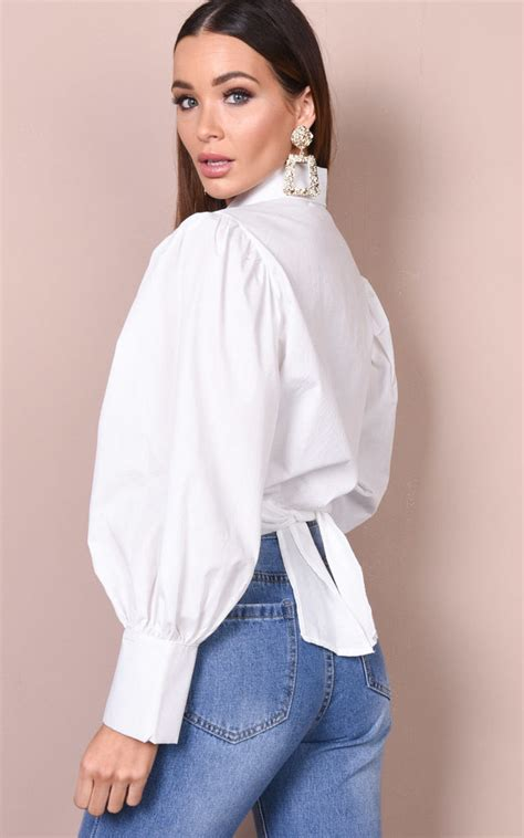 Ballon Top Blouse balloon sleeve tie front crop shirt blouse top white