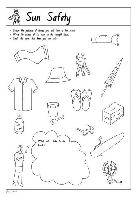 Sun Safety Printable 1 Health Safety And Citizenship Sun Safety Coloring Pages