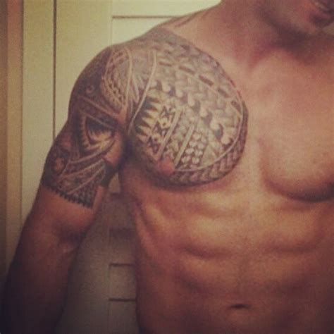 tribal tattoos chest and arm chest shoulder tribal blackandwhite uncategorized