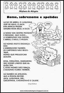 NOMES, SOBRENOMES E APELIDOS-Mistura de Alegria