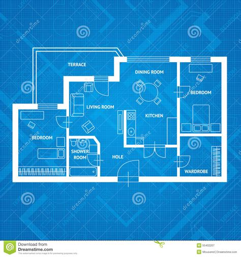 blueprint design vector plan blue print flat design stock vector