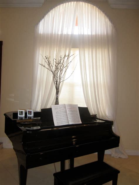 Arch Drapes yardena arch window with pleated white sheer drapes modern curtains miami by
