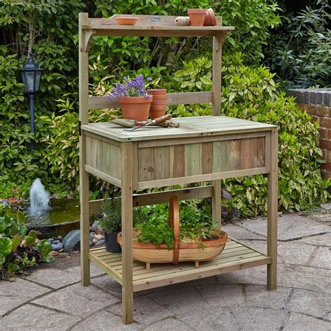 forest garden wooden potting bench workstation internet