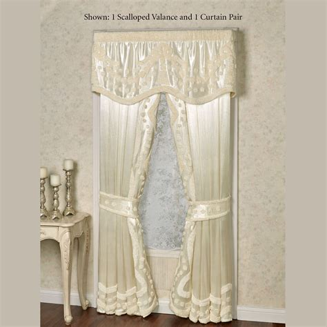 lisette curtains lisette pearl chenille scalloped valance window treatment