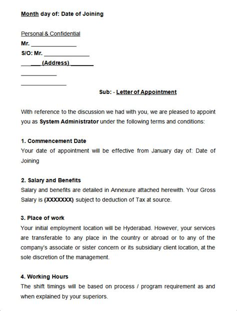 appointment letter format civil engineer 31 appointment letter templates free sle exle