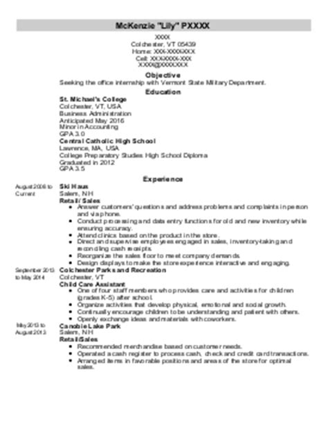 Resume Objective Animal Care P Animal Care And Service Resume Colchester Vermont