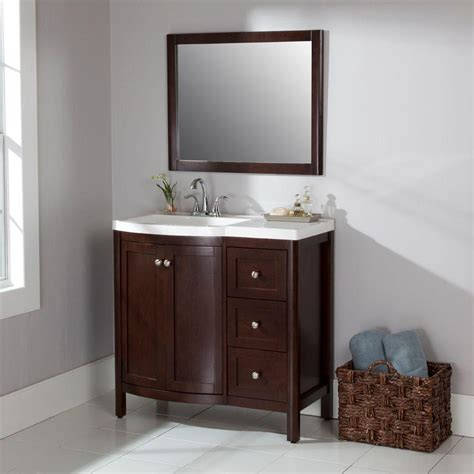 bathroom vanities home depot st paul madeline 36 in vanity in chestnut with alpine vanity top vanities at home depot in