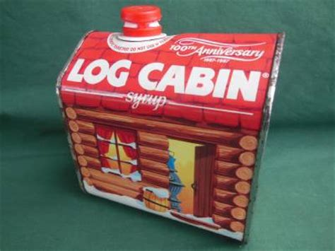 vintage 1987 log cabin syrup tin container 100th