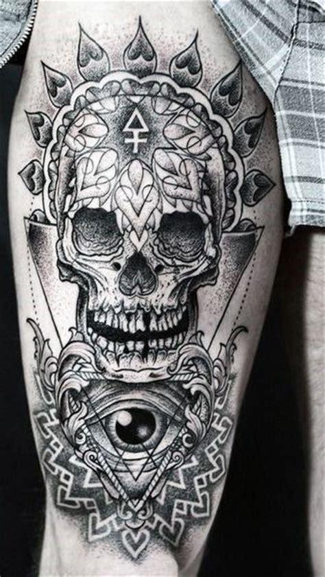 skull upper leg tattoo タトゥー pinterest タトゥー