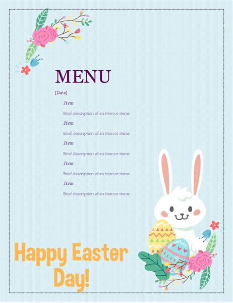 easter card template microsoft word easter menu