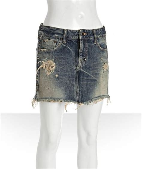 prps blue distressed wash denim studded skirt in blue lyst