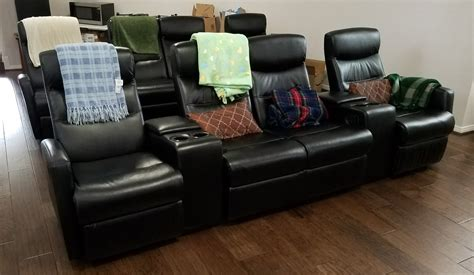 theatre leather sofa recliner review flash furniture 4 seat black leather home theater