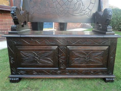 antique monks bench for sale antique carved oak monks bench settle hall seat 210153