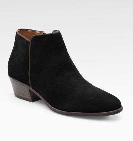 sam edelman petty low cut suede ankle boots in black lyst