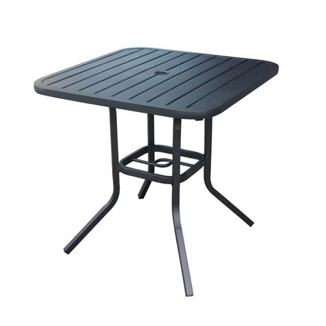 Outdoor Patio Tables Shop Garden Treasures Pelham Bay 29 5 In W X 29 5 In L 4 Seat Square Black Steel Bistro Patio