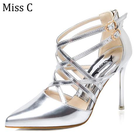 silver high heel shoes cheap get cheap silver strappy pumps aliexpress