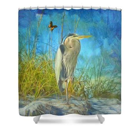 Great Shower Curtains by Great Blue Heron Shower Curtain For Sale From