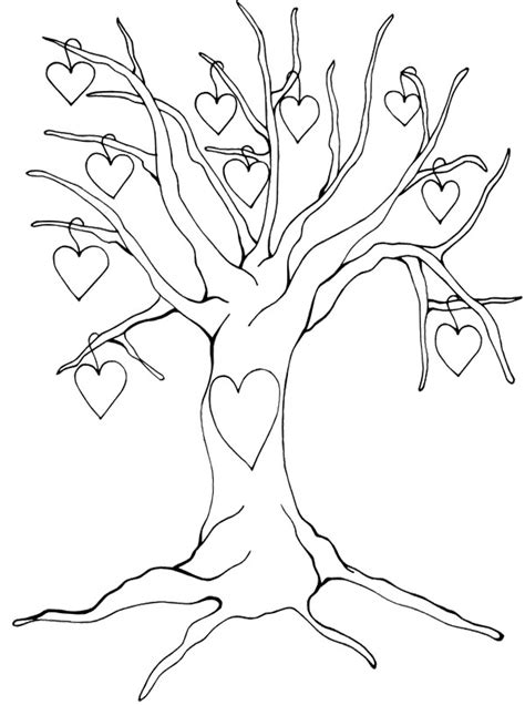 tree pattern without leaves coloring page tree heart tree without leaves coloring page tree pinterest