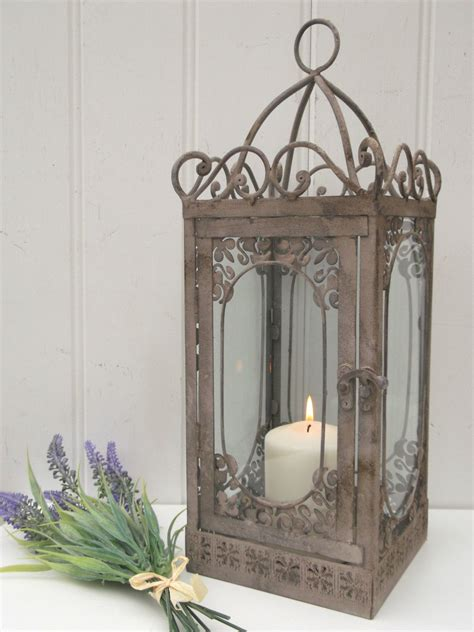 vintage shabby chic home decor vintage style french grey large lantern candle holder