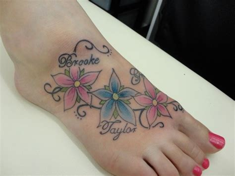 ankle tattoo designs with kids names tattoos on the foot with flowers and names name flower