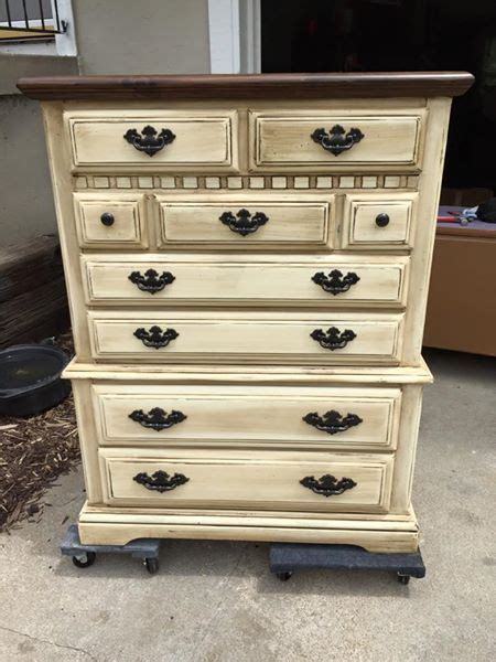 white dresser with stained wood top refinished dresser chalk paint with java glaze over