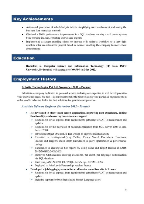 Sle Resume Experienced Database Developer 28 Sle Resume For 2 Years Experience High Risk Resume No Experience Sales No Experience