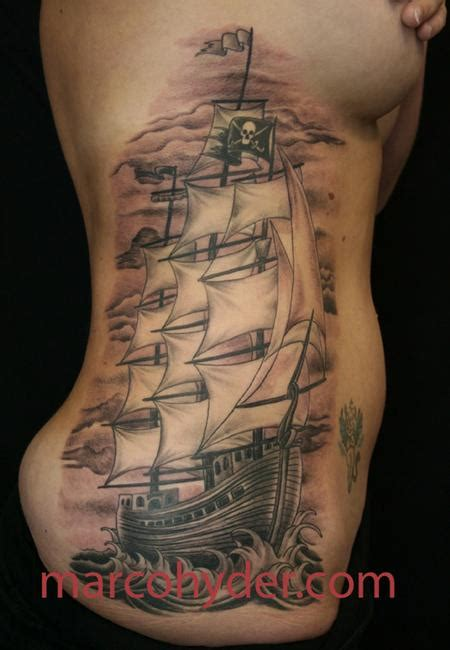 pirate clipper ship by marco hyder tattoonow