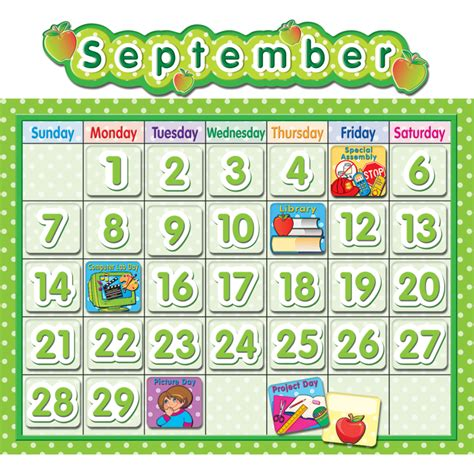 Calendar Board Polka Dot School Calendar Bulletin Board Tcr4188