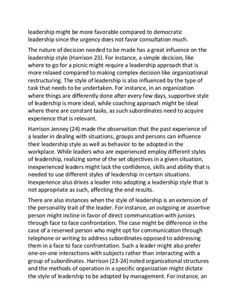 Leadership Styles Essay by Sle Essay On Understanding Leadership Styles