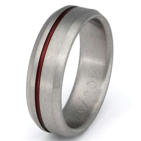 thin line titanium band firefighter s ring