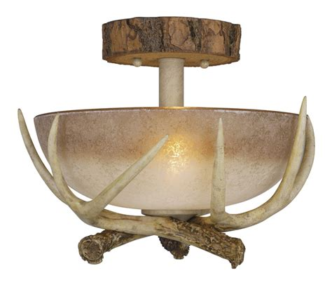 Rustic Ceiling Lights Rustic Antler Semi Flush Ceiling Light 12 Inch
