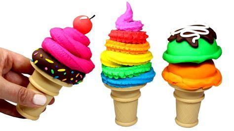 Squishy Rainbow Squishy Es Krim Squishy play doh how to make cones rainbow