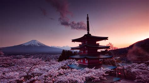 wallpaper 4k japan 7680x4320 churei tower mount fuji in japan 8k 8k hd 4k